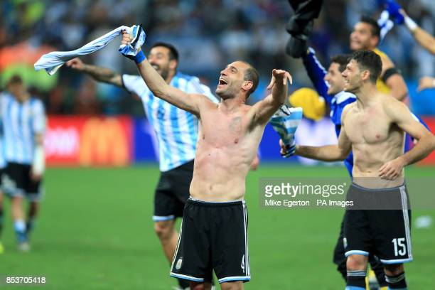 Argentina's Pablo Zabaleta celebrates victory after the penalty shootout