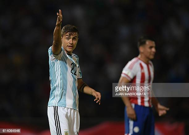 Argentina's Paulo Dybala gestures during the Russia 2018 World Cup football qualifier match against Paraguay in Cordoba Argentina on October 11 2016...