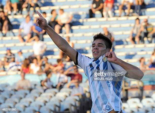Argentina's player Giovanni Simeone celebrates the goal against Paraguay during their South American U 20 football match at the Centenario Stadium in...