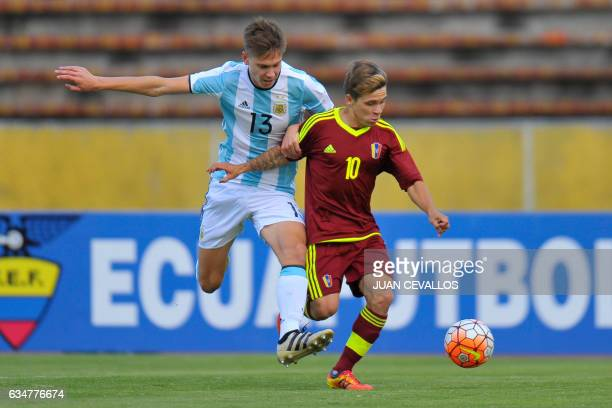 Argentina`s player Juan Marcos Foyth vies for the ball with Venezuela`s Yeferson Soteldo during their South American Championship U20 football match...
