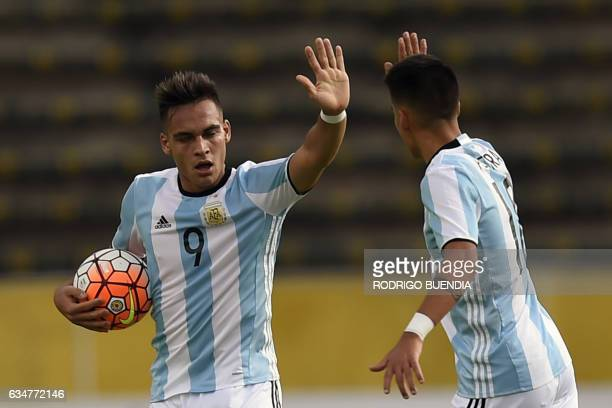 Argentina's player Lautaro Martinez celebrates a goal against Venezuela during a South American Championship U20 football match at the Olimpico...