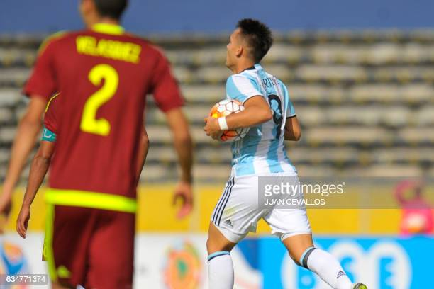 Argentina's player Lautaro Martinez celebrates his goal against Venezuela during their South American Championship U20 football match at the Olimpico...
