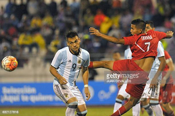 Argentina`s player Lautaro Martínez Foyth vies for the ball with Peru`s Martín Távara during their South American Championship U20 football match in...