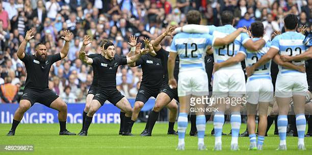 Argentina's players line up as New Zealand's perform the Haka prior to a Pool C match of the 2015 Rugby World Cup between New Zealand and Argentina...