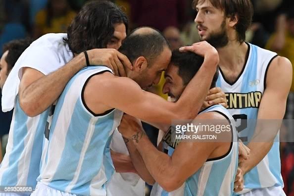 TOPSHOT Argentina's power forward Luis Scola Argentina's shooting guard Manu Ginobili Argentina's point guard Facundo Campazzo and Argentina's centre...