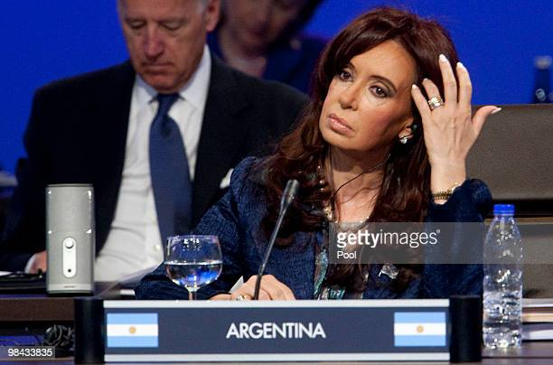 Argentina's President Cristina Fernandez de Kirchner attends the opening plenary of the Nuclear Security Summit during the Nuclear Security Summit at...