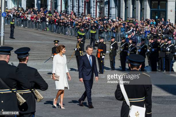 Argentinas President Mauricio Macri and his wife Juliana Awada during are welcomed by Dutch Prime Minister Mark Rutte with an official welcoming...