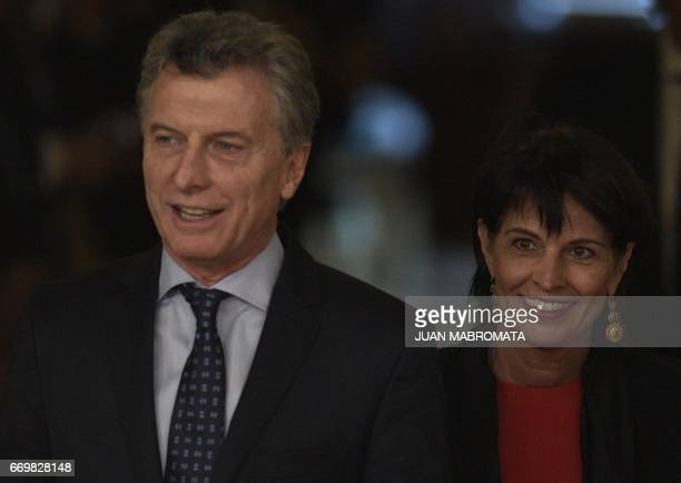 Argentina's President Mauricio Macri and Switzerland's President Doris Leuthard arrive for a working meeting at the Casa Rosada presidential palace...