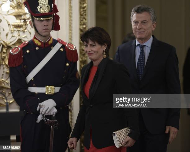 Argentina's President Mauricio Macri and Switzerland's President Doris Leuthard arrive to offer a joint conference after a working meeting at the...