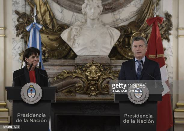 Argentina's President Mauricio Macri and Switzerland's President Doris Leuthard offer a joint conference after holding a working meeting at the Casa...