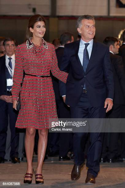 Argentina's President Mauricio Macri and wife Juliana Awada attend the opening of ARCO 2017 at Ifema on February 23 2017 in Madrid Spain