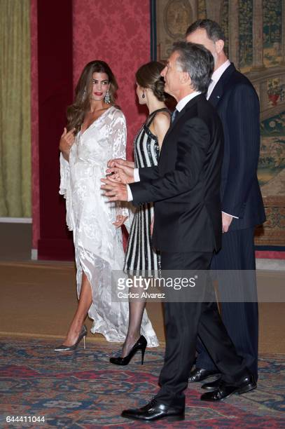 Argentina's President Mauricio Macri and wife Juliana Awada offer a reception in honour of King Felipe of Spain and Queen Letizia of Spain at El...