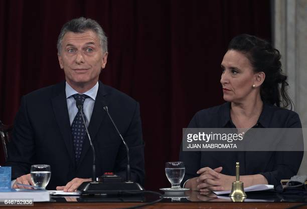 Argentina's President Mauricio Macri delivers a speech next to VicePresident Gabriela Michetti during the inauguration of the 135th period of...