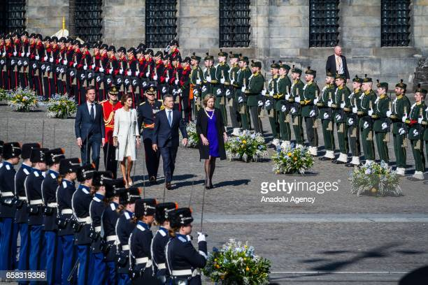 Argentinas President Mauricio Macri his wife Juliana Awada are welcomed by Dutch Prime Minister Mark Rutte with an official welcoming ceremony at The...