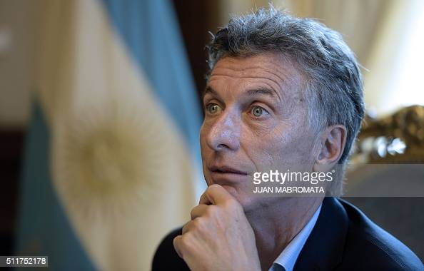 Argentina's President Mauricio Macri offers an interview to AFP at the Casa Rosada presidential palace in Buenos Aires on February 22 2016 Macri won...