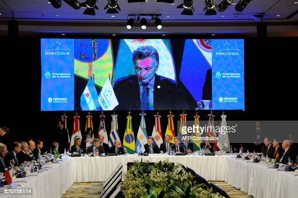 Argentina's President Mauricio Macri opens the plenary session of the Mercosur Summit in Mendoza 1050 km to the west of Buenos Aires Argentina on...
