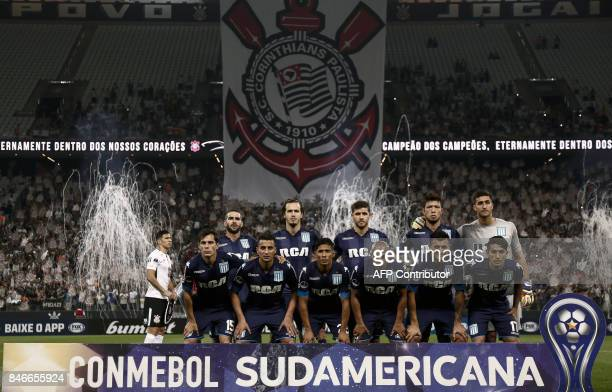 Argentina's Racing Club team poses before their 2017 Sudamericana Cup football match against Brazil's Corinthians at the Arena Corinthians Stadium in...