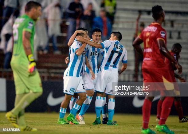 Argentina's Racing players celebrate after scoring against Colombia's Rionegro Aguilas during their 2017 Copa Suramerican football match at Alberto...