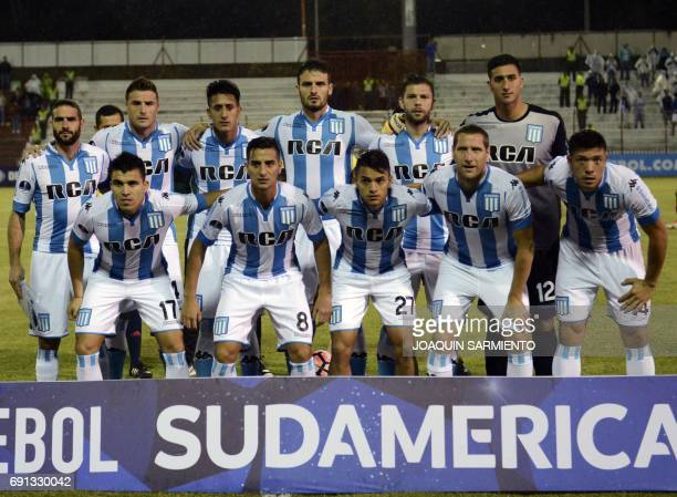 Argentina's Racing players pose during their 2017 Copa Sudamericana football match against Colombia´s Rionegro Aguilas at Alberto Gripales stadium in...