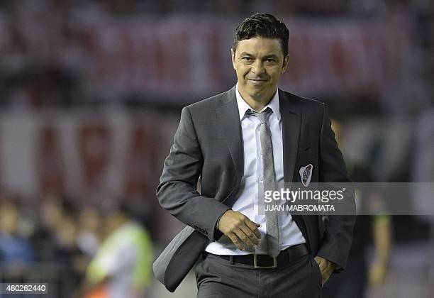Argentina's River Plate coach Marcelo Gallardo gestures during the Copa Sudamericana 2014 second leg final football match against Colombia's Atletico...