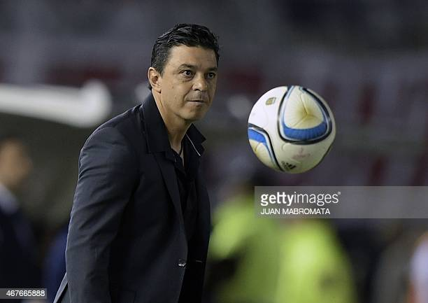 Argentina's River Plate coach Marcelo Gallardo stands next to the field during the 2015 EuroAmerican Super Cup football match against Spain's Sevilla...