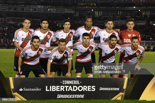 Argentina's River Plate football team pose before the start of the Copa Libertadores 2017 group 3 football match against Colombia's Deportivo...
