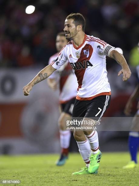 Argentina's River Plate forward Rodrigo Mora celebrates after scoring a penalty kick against Ecuador's Emelec during their Copa Libertadores 2017...
