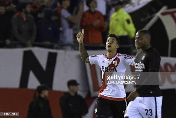 Argentina's River Plate forward Sebastian Driussi celebrates after scoring the team's second goal against Peru's Melgar during the Copa Libertadores...
