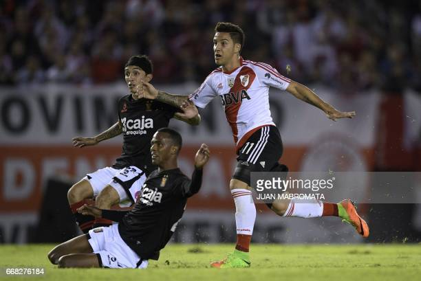 Argentina's River Plate forward Sebastian Driussi celebrates after scoring his second and the team's fourth goal against Peru's Melgar during the...