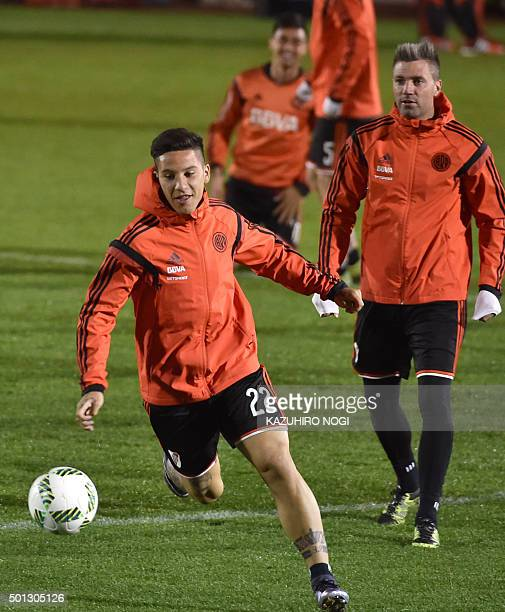 Argentina's River Plate forward Sebastian Driussi warms up with his teammates during their football training session in Osaka on December 14 2015 AFP...