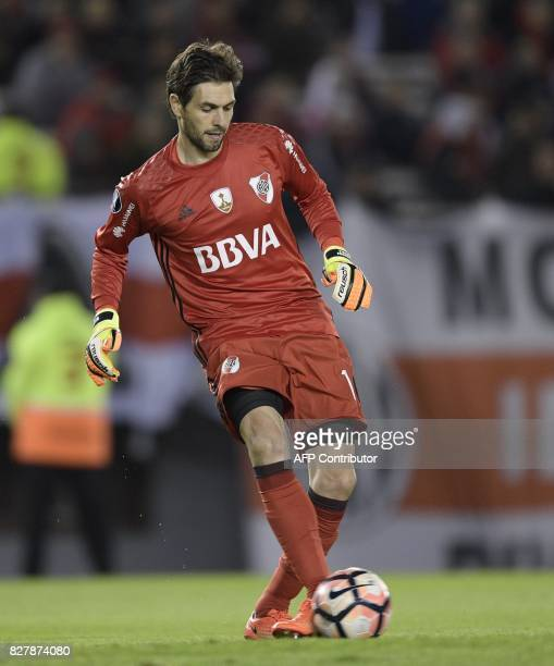 Argentina's River Plate goalkeeper German Lux kicks the ball during the Copa Libertadores 2017 round before the quarterfinals second leg football...