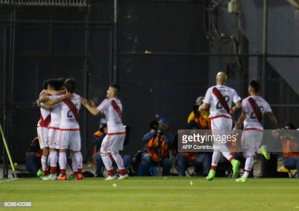 Argentina's River Plate player Ignacio Scocco celebrates with teammates his goal against Paraguay's Guarani during their Copa Libertadores 2017 match...