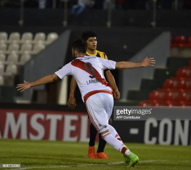 Argentina's River Plate player Marcelo Larrondo celebrates his goal against Paraguay's Guarani during their Copa Libertadores 2017 match at the...