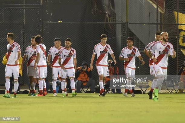 Argentina's River Plate players celebrate scoring against Paraguay's Guarani during their Copa Libertadores 2017 match at the Defensores del Chaco...