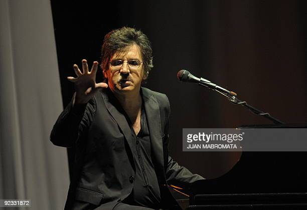 Argentina's rock singer and composer Charly Garcia performs during a concert on his 58 birthday at Jose Amalfitani stadium in Buenos Aires Argentina...