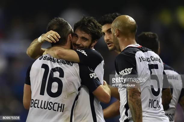 Argentina's San Lorenzo Fernando Belluschi celebrates with teammates his goal against Ecuador's Emelec during their 2017 Copa Libertadores football...