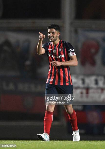 Argentina's San Lorenzo forward Nicolas Blandi celebrates after scoring a goal against Argentina's Lanus during the Copa Libertadores 2017...