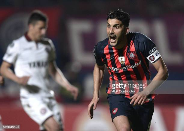 Argentina's San Lorenzo forward Nicolas Blandi celebrates after scoring his second goal against Lanus during the Copa Libertadores 2017 quarterfinals...