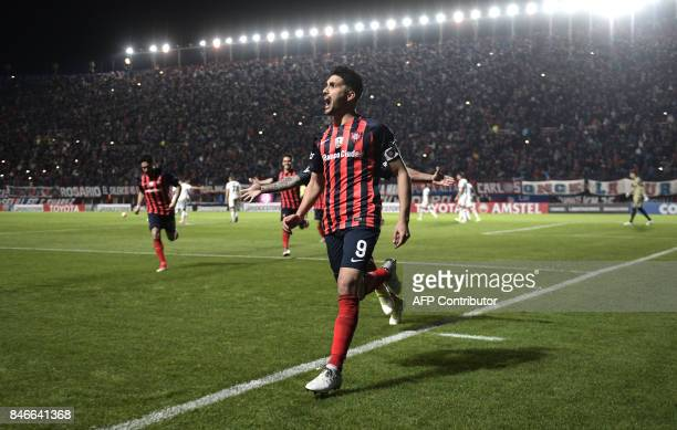 Argentina's San Lorenzo forward Nicolas Blandi celebrates after scoring his second goal against Argentina's Lanus during the Copa Libertadores 2017...