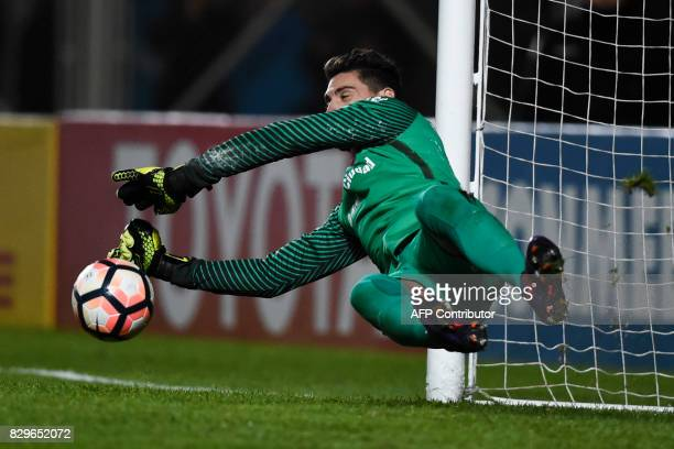Argentina's San Lorenzo goalkeeper Nicolas Gaston Navarro stops a penalty kick against Ecuador's Emelec during the Copa Libertadores 2017 round of 16...
