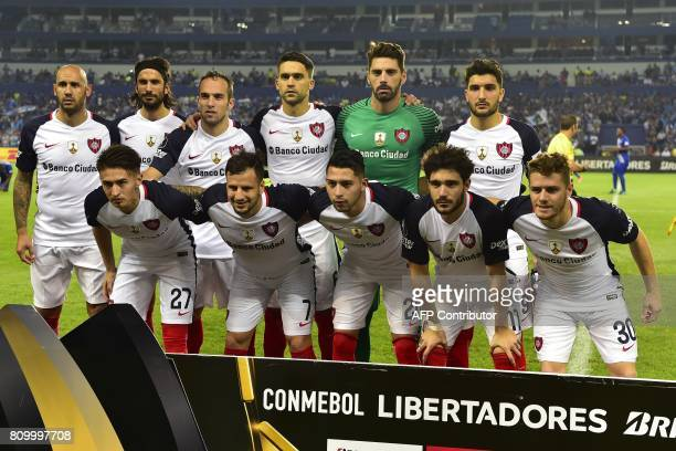 Argentina's San Lorenzo players pose before their 2017 Copa Libertadores football match at George Capwell stadium in Guayaquil Ecuador on July 6 2017...