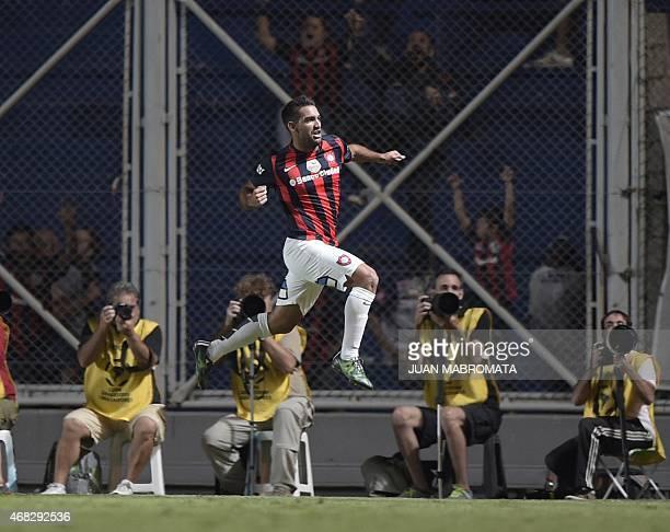 Argentina's San Lorenzo's forward Martin Cauteruccio celebrates after scoring a goal against Brazil's Sao Paulo during the Copa Libertadores 2015...