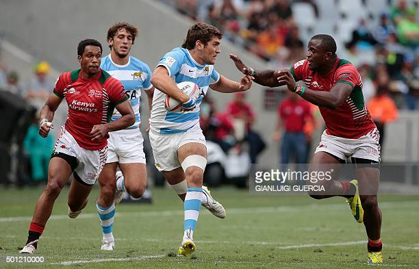 Argentina's Santiago Alvarez attempts to break through during the Rugby Sevens series Cape Town leg second semifinal between France and South Africa...