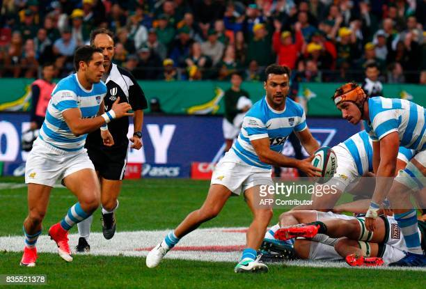 Argentina's scrumhalf Martin Landajo carries the ball during the International Rugby Test match between Argentina and South Africa at The Nelson...