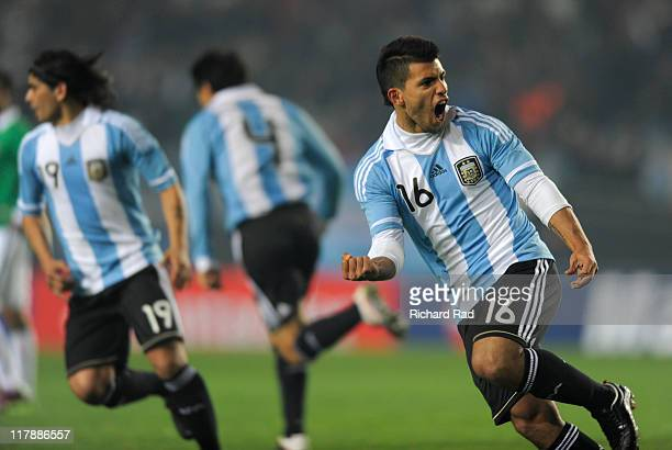 Argentina's Sergio Aguero celebrate after scoring against Bolivia during 2011 Copa America soccer match as part of the Group A at the Ciudad de La...