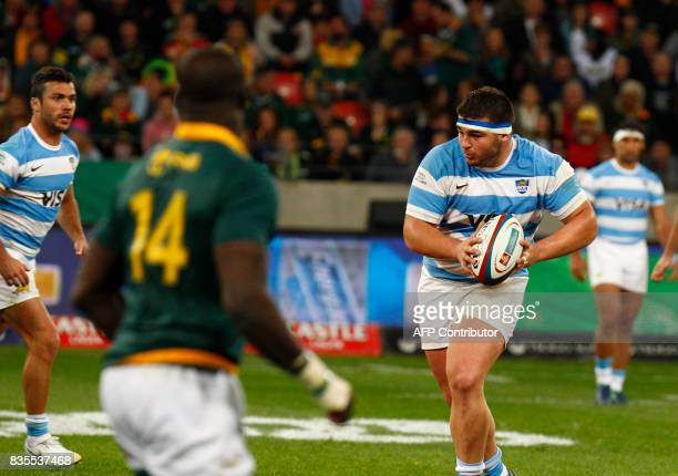 Argentina's tight head prop forward Enrique Pieretto carries the ball during the International Rugby Championship Test match between Argentina and...