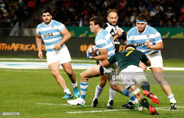 Argentina's winger Emiliano Boffelli is tackled by Springbok Jaco Kriel during the International Rugby Championship Test match between Argentina and...