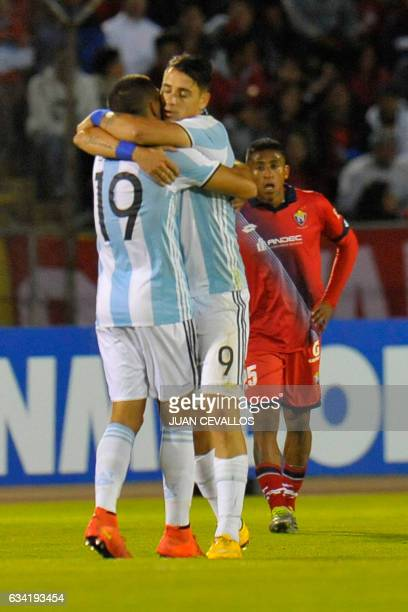 Argentinas's Atletico Tucuman player Fernando Zampedri celebrates with a teammate his goal against El Nacional of Ecuador during their 2017 Copa...