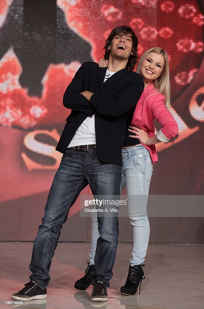 Argentine actor Gil Andres and his dance partner Anastasia Kuzmina attend 'Ballando Con Le Stelle' press conference photocall at Auditorium Rai on January 4, 2012 in Rome, Italy.