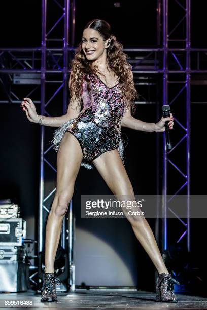 Argentine actress model singer and dancer Martina Stoessel best known as Tini performs on stage on March 28 2017 in Milan Italy